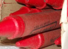 "12 (twelve) Red*Staonal Binney & Smith #1 Checking Crayon 6"" Long *vintage"