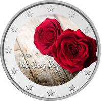 2 Euro Gedenkmünze Valentinstag coloriert mit Farbe  /  Farbmünze Valentin Herz