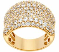 DIAMONIQUE 14K YELLOW CLAD STERLING BOLD CONCAVE BAND RING SIZE 8 QVC $68.50
