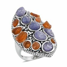 13.90ct Rough Cut Tanzanite, Jalisco Fire Opal Stainless Steel Ring