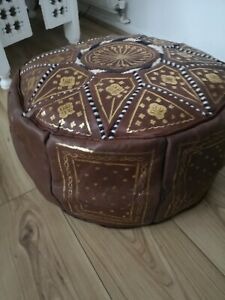 Moroccan pouffe Leather Footstool Brown seating ottoman poufe pouf New