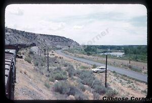 D&RGW train above road August 1958 ORIGINAL KODACHROME SLIDE