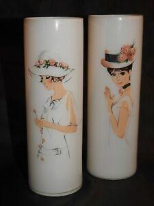 Pair Of Retro Sara Moon Era White Glass Flapper Lady Vases.