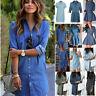 Damen Jeanskleid Hemdkleid Tunika Jeans Bluse Longshirt Denim Kleid Strandkleid