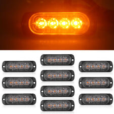 10x Amber 4 LED 18W Work Light Bar Hazard Beacon Constantly Warning Emergency