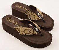 CALVIN KLEIN Women's MULAN Wedge Flip Flops Sandals, Brown/Khaki, many sizes