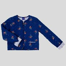 New-XL(14-16)-Disney-Girls Beauty and the Beast Quilted Jacket-Floral-Blue-Zip