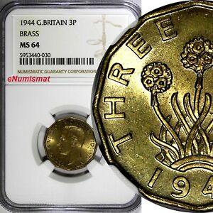 Great Britain George VI Brass 1944 3 Pence WWII Issue NGC MS64 KM# 849 (30)