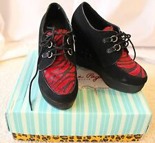 BRAND NEW Betty Page Platform Creepers Pinup Rockabilly Punk 8 Red & Black Goth