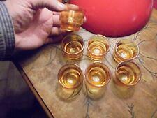 6+1 Anciens Petits Verres à Liqueur Trou Normand ou Digestif pour Carafe