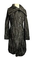 PER UNA Marks and Spencer Wool Blend Womens Size 10 Grey Black Mix Winter Coat