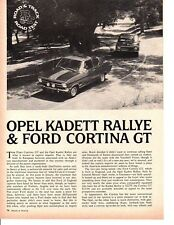 1968 OPEL KADETT RALLYE & FORD CORTINA GT ~ ORIG4-PAGE ROAD TEST ARTICLE / AD