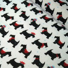 Polycotton Fabric Festive Pups Christmas Scottie Dogs Xmas
