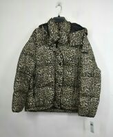 BCBGeneration Womens Cheetah Print Full Zip Button Cover Winter Coat Hooded XL