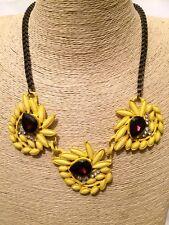 Womens Ladies STATEMENT Yelllow Bib Collar Necklace Crystal Diamante Rhinestone
