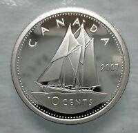 2007 CANADA 10 CENTS PROOF SILVER DIME HEAVY CAMEO COIN