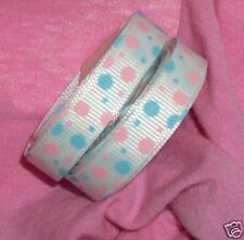 "3/8"" White Ribbon w Pk & Bl Baby Dots, Korker Bows, Gender Reveal Baby Shower 5y"