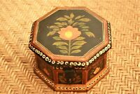 Antique Spice Box Middle Eastern 8 Sided Hand Painted