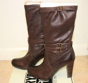 NIB Frye Miranda Slouch Women's 7.5 M Dark Brown Boots Heel $268 Leather Vintage