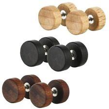 Wooden Steel Ear Studs Earrings Fashion Natural for Women Men Wood Barbell