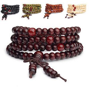 Sandalwood Buddhist Buddha Meditation 6mm 108 Prayer Bead Mala Bracelet 2021