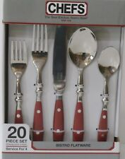 CHEFS BISTRO * RED WOODGRAIN FLATWARE *  20pc Serving set for 4 NEW 18/8 SS