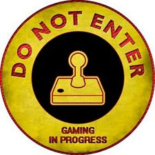 "Do Not Enter Atari Gaming In Progress 12"" Round Metal Sign Novelty Mancave Decor"