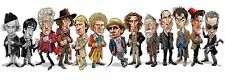 DR Who Cast Caricature Tom Baker, William Hartnell TARDIS Sticker or Magnet