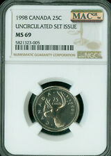 1998 CANADA 25 CENTS NGC MS69 PQ FINEST GRADE MAC SPOTLESS  *