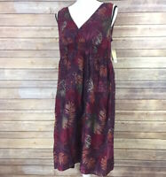 NEW Women's Large Sonoma Dress Purple Leaves Fall Summer
