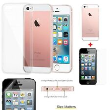 Transparent Clear Soft TPU Case Skin Cover + Screen Protector for iPhone 5/5S/SE