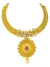 Gold Indian Kundan Polki Necklace Set Earring Pearl Drop Bollywood Jewellery