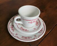 Shenango China Restaurant Ware, 3 Piece Setting Bread  Plate, Cup & Saucer, Red