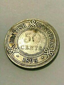1895 British Honduras 50 Cents Silver F+ #20583