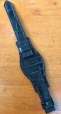 Black Genuine Crocodile Alligator Skin Leather Bund Watch Strap Band 20mm