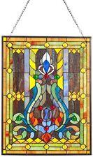 Elegant Tiffany Stained Glass Fleur de Lis Window Panel