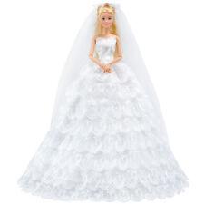 E-TING White Gorgeous Wedding Dress Princess Gown Clothes Veil for Barbie Doll A
