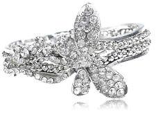 Antique-Inspired Silver Tone Rhinestone Butterfly Flower Bracelet Bangle Cuff