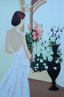 Serge VERGEZ : Elégante et les Roses - LITHOGRAPHIE Originale signée, 250ex