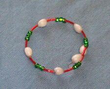 Hawaiian white Job's Tears bracelet with green seed beads and red bugle beads #2