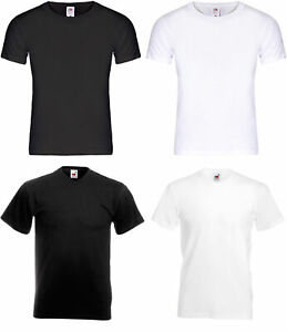 5-10 T-Shirts V-Ausschnitt / Rundhals Fruit of the Loom schwarz oder weiß