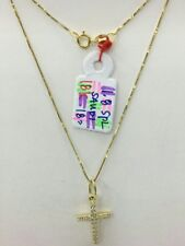 Gold Authentic. 18k gold cross necklace with pendant,,
