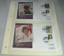 More details for 2 x diana princess of wales commemorative luxury first day covers on album sheet