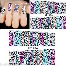 Full Wrap Water Transfers Nail Art Stickers Decals Neon Leopard Print (1486)