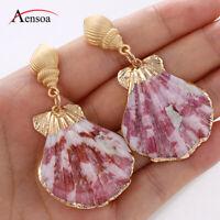 New Design Natural Shell Pink Earring Women Conch Party Dangle Ear Drop Earrings