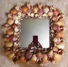 Vtg Square LARGE Seashell Wall Mirror Artisan Handcrafted Created Frame Shells