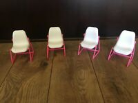 Hard to Find Pink Mattel Barbie Dream Furniture Dining Chairs 1977 set of 4