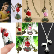Red Dried Rose Flower Glass Bottle Necklace Pendant Gifts Beauty And The Beast
