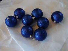 8 Dark Blue Glitter 2.5 IN Ball Shatter Resistant Christmas Ornaments Decoration