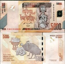 CONGO 5000 5,000 FRANCS 2005/2012 ZEBRA/CARVING P 102 UNC